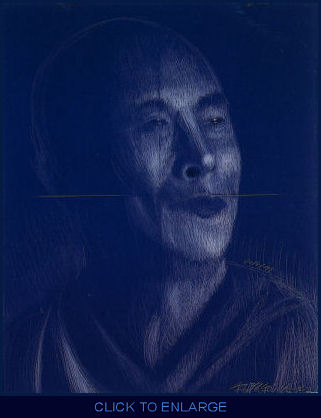 His iconic, monumental four-sectioned portrait of the Dalai Lama, an earlier work,  fairly vibrates with emotions –  electrically charged with compassion, radiant with love, hypnotic with serenity. The artist's painful journey from a tortured period to his hard-won, transcendent transformation is etched in every line, and all this seems to be communicated directly to the viewer's higher emotional center by some powerful magic... You feel it with all of you, all at once. Infused with wisdom, compassion, and timelessness -- like the Dalai Lama himself -- only true art can feed your soul!